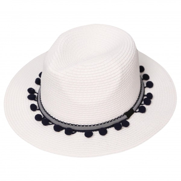Panama Hat Featuring PomPom Band.   - 100% Paper - One Size Fits Most