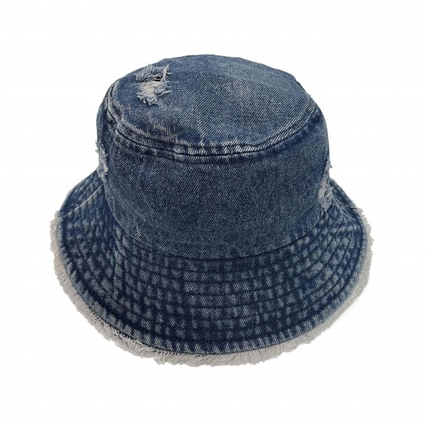 Washed Distressed Denim Bucket Hat with Frayed Edges.   - One Size Fits Most - 100& Cotton
