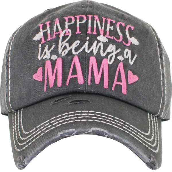 """""""Happiness is Being a Mama"""" Embroidered Distressed Vintage Style Baseball Cap with Mesh Back.   - One size fits most  - Adjustable Velcro Closure  - 100% Cotton"""