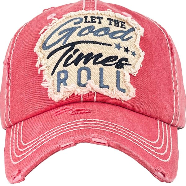 """""""Let The Good Times Roll"""" Embroidered Distressed Vintage Style Baseball Cap with Mesh Back.   - One size fits most  - Adjustable Velcro Closure  - 100% Cotton"""