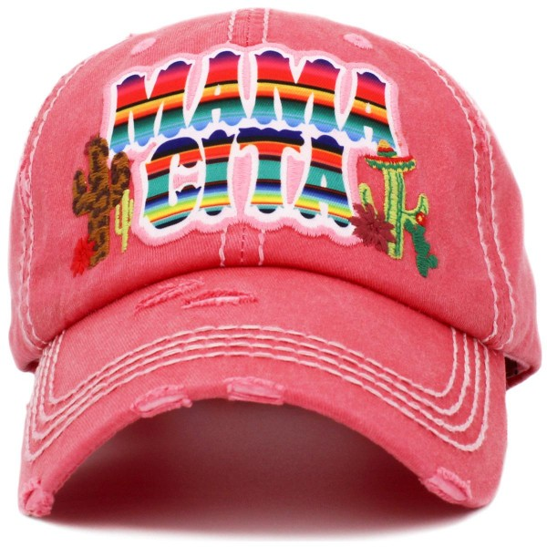 """""""Mamacita"""" Embroidered Distressed Vintage Style Baseball Cap with Mesh Back.   - One size fits most  - Adjustable Velcro Closure  - 100% Cotton"""