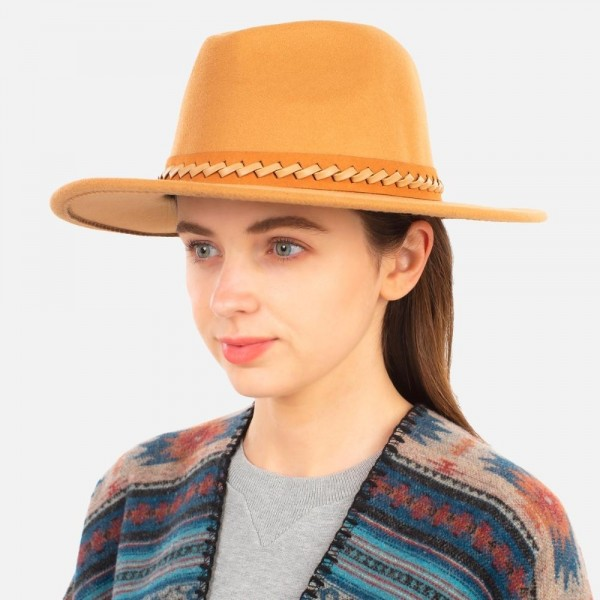 """Wide Brim Panama Hat with Braided Leather Band  - Adjustable Drawstring - Hat Brim Approximately 3"""" W - 100% Polyester"""
