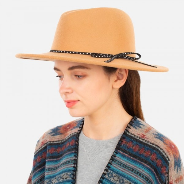 """Felt Panama Hat Featuring Rhinestone Studded Leather Band.   - One size fits most adults - Approximately 14"""" W x 16"""" L in outer diameter - 100% Polyester"""