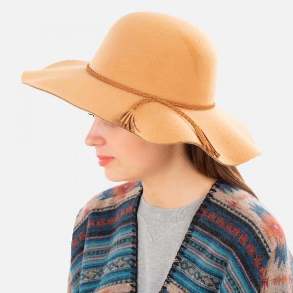 """Wide Brim Floppy Hat with Thin Braided Tassel Band  - Adjustable Drawstring - One Size Fits Most - 100% Polyester - Hat Brim Approximately 4"""" W"""
