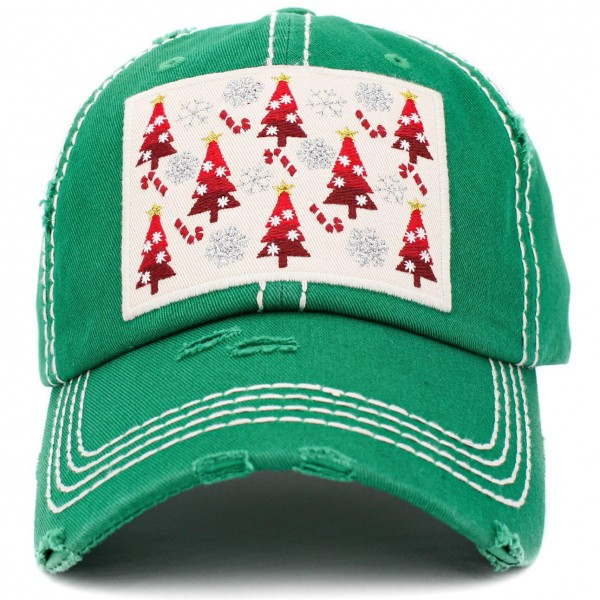Vintage Distressed Christmas Baseball Cap Featuring Christmas Tree, Snowflake, and Candy Cane Embroidered Detail.  - One Size Fits Most - Adjustable Velcro Closure - 100% Cotton