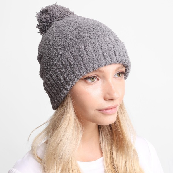 Solid Print Comfy Luxe Beanie.   - One Size Fits Most  - 100% Polyester