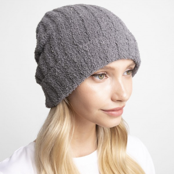 Solid Print Comfy Luxe Beanie   - One Size Fits Most  - 100% Polyester