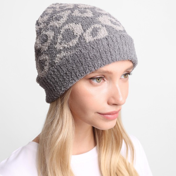 Leopard Print Comfy Luxe Beanie.   - One Size Fits Most  - 100% Polyester