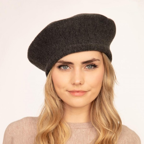 """Solid Color Knit Beret Hat.  - One Size Fits Most - 20"""" Head Circumference - 100% Acrylic"""