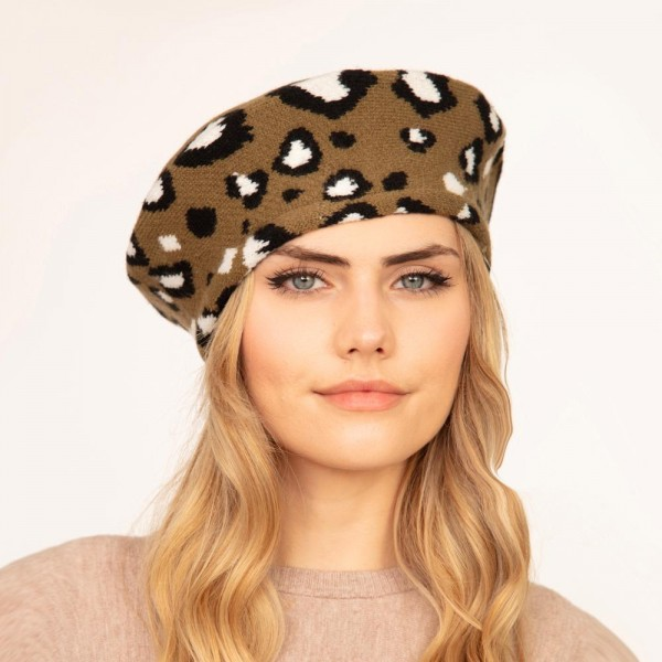 """Leopard Print Knit Beret Hat.  - One Size Fits Most - 20"""" Head Circumference - 100% Acrylic"""