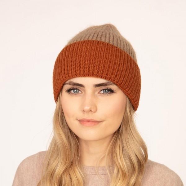 Knit Beanie  -One size fits most -65% Acrylic/ 27% Nylon/ 8% Wool