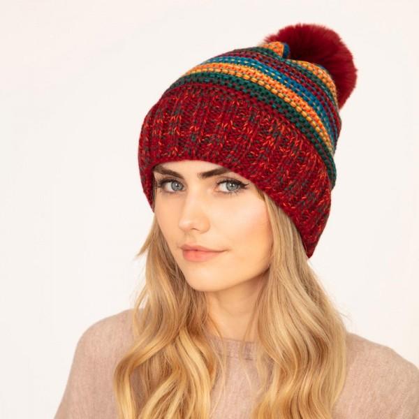 Knit beanie with faux fur pom pom  -One size fits most -Lined -100% Acrylic