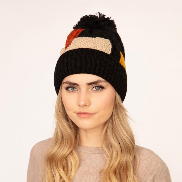 Women's Color Block Cable Knit Pom Beanie.  - One size fits most - 100% Acrylic
