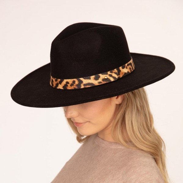 """Felt Panama Hat Featuring Faux Animal Print Leather Band.   - One size fits most adults - Approximately 14"""" W x 16"""" L in outer diameter - 100% Polyester"""