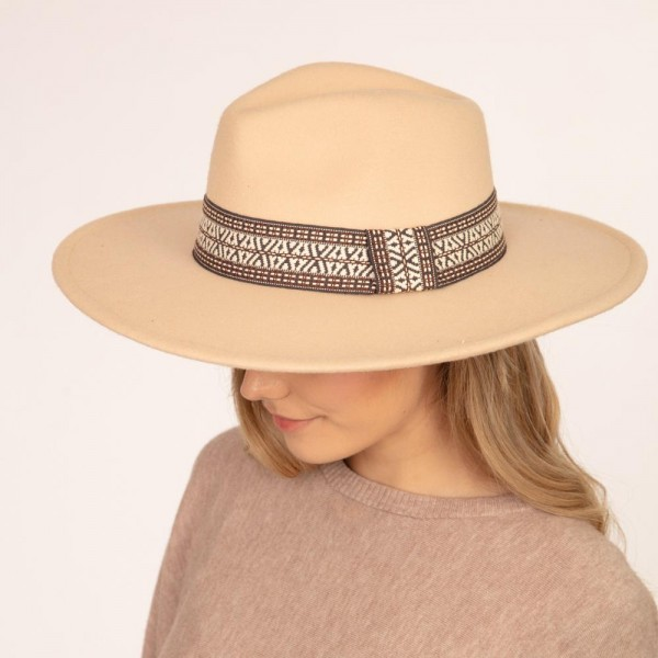 """Wool Felt Panama Hat Featuring Aztec Ribbon Band.  - One size fits most - Brim Width: 3.25"""" - 100% Polyester"""