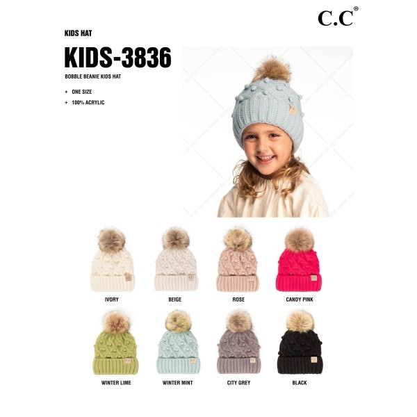 C.C KIDS-3836 Fuzzy Lined Knit Beanie with Faux Fur Pom and Handmade Bobbles  - 100% Acrylic - One Size Fits Most