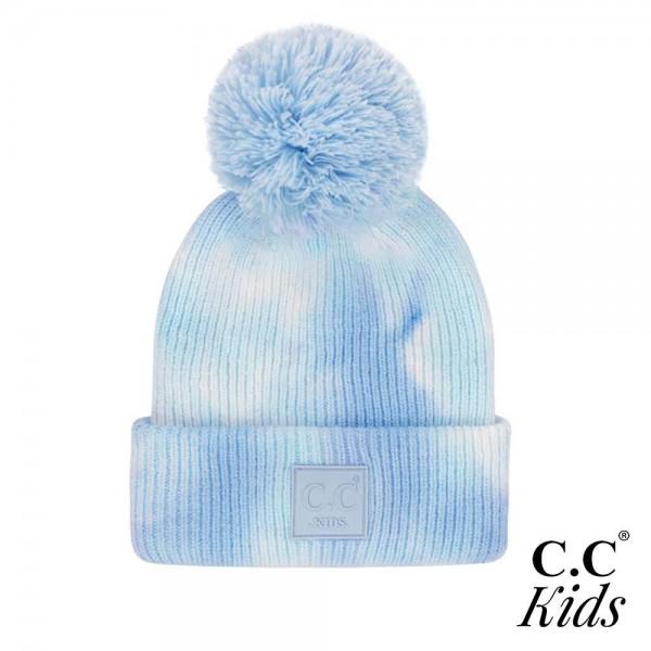 C.C KIDS-7380-POM Kids Knit Beanie with Pom  - One Size Fits Most - 52% Viscose / 28% Polyester / 20% Nylon