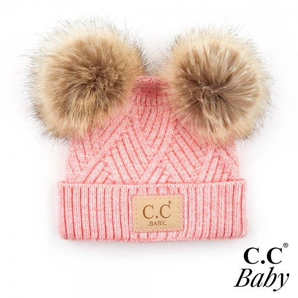 C.C BABY-2060-POMPOM Knit Baby Beanie with Faux Fur Double Poms  - 47% Rayon / 31% PBT / 22% Nylon -  One Size