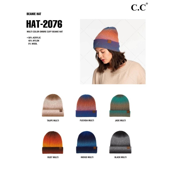 C.C HAT-2076 Multi Color Ombre Cuff Beanie Hat.   - One Size Fits Most - 50% Acrylic, 45% Nylon, 5% Wool