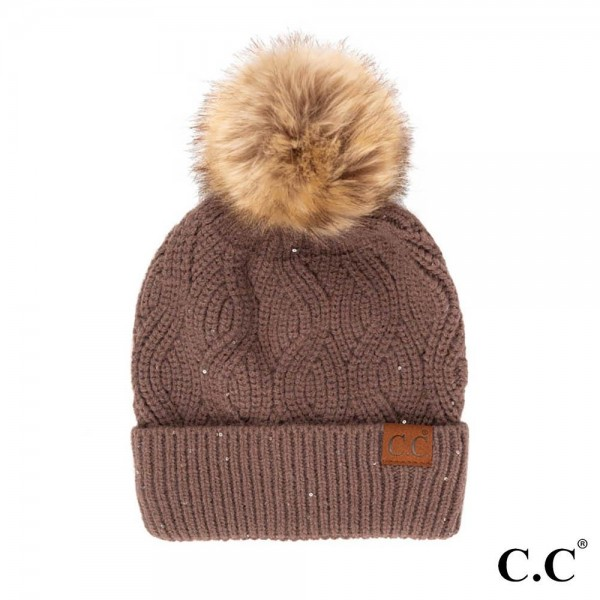 C.C HAT-2073 Knit Beanie with Faux Fur Pom and Sequin Accent  - 42% Polyester / 35% Acrylic / 23% Nylon - One Size Fits Most