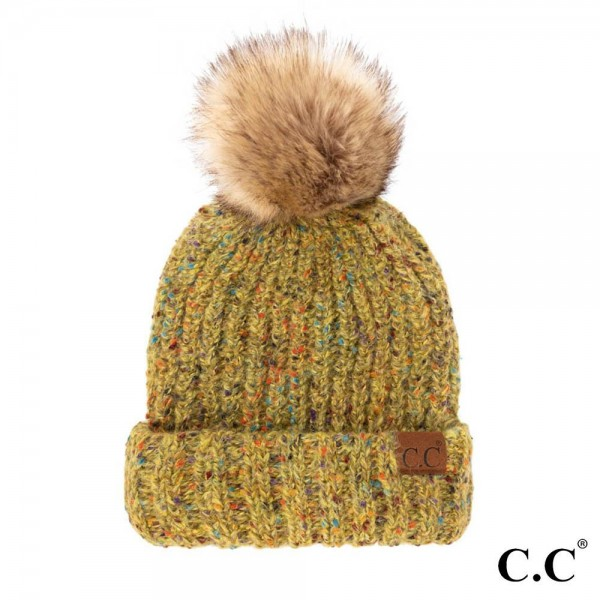 C.C HAT-2078 Confetti Mohair Ribbed Beanie with Faux Fur Pom  - One Size Fits Most - 100% Acrylic