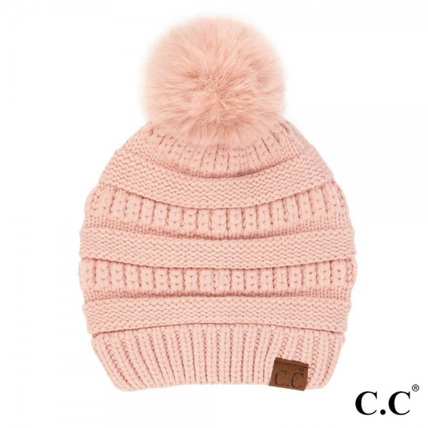 C.C HAT-7002  Knit Beanie with Faux Fur Pom  - One Size Fits Most - 52% Viscose / 28% Polyester / 20% Nylon