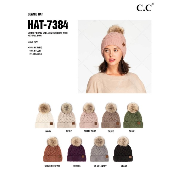 C.C HAT-7384 Chunky Braid Cable Pattern Beanie Featuring Natural Faux Fur Pom.   - One Size Fits Most - 56% Acrylic, 40% Nylon, 4% Spandex