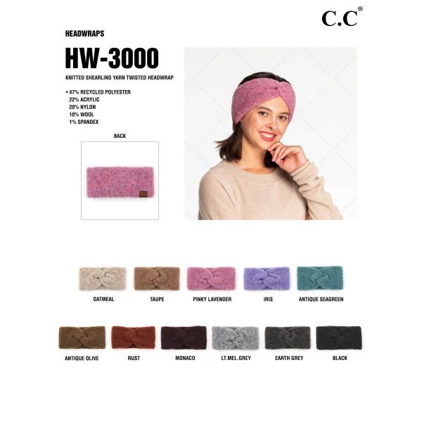C.C HW-3000 Recycled Yarn Headwrap  - 47% Recycled Yarn / 22% Acrylic / 10% Wool / 1% Spandex - One Size Fits Most