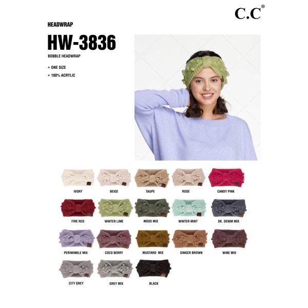 C.C HW-3836 Knit Headwrap Featuring Handmade Bobbles  - 100% Acrylic - One Size Fits Most