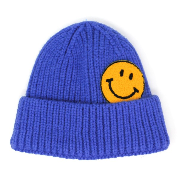 Knit Beanie with Smiley Face Applique  - 100% Acrylic - One Size Fits Most