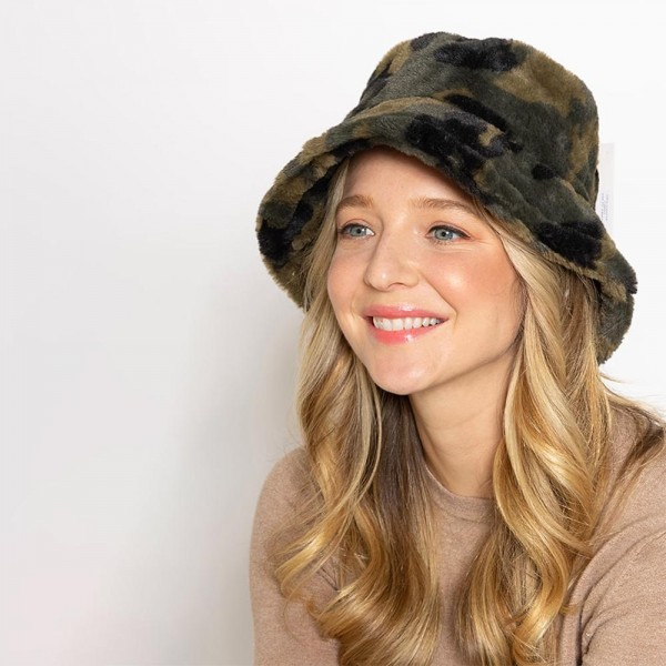 Camo Faux Fur Bucket Hat  - One Size Fits Most - 100% Polyester - Adjustable Drawstring