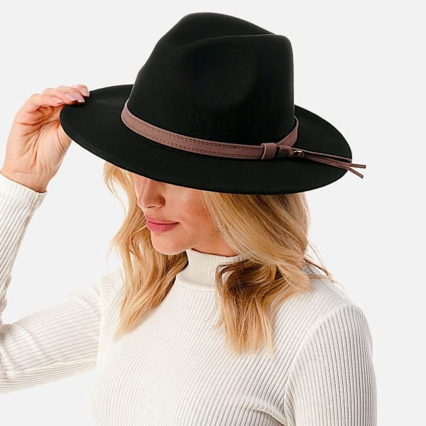 """Wool Felt Wide Brim Hat Featuring Leather Band  - Adjustable Drawstring - Hat Brim Approximately 2.75"""" W - 10% Wool / 90% Polyester"""