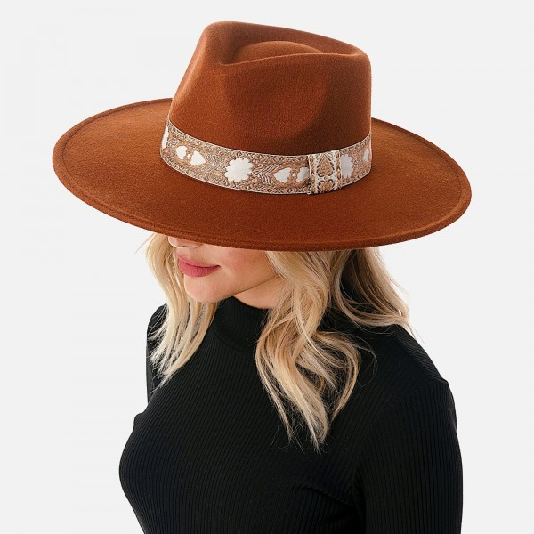 """Wool Felt Wide Brim Hat Featuring Embroidered Band  - Adjustable Drawstring - Hat Brim Approximately 4"""" W - 10% Wool / 90% Polyester"""