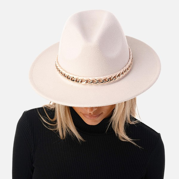 """Wool Felt Wide Brim Hat Featuring Rose Gold Chain Link Band  - Adjustable Drawstring - Hat Brim Approximately 2.75"""" W - 10% Wool / 90% Polyester"""