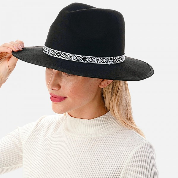 """Wool Felt Wide Brim Hat Featuring Black and White Aztek Embroidered Band  - Adjustable Drawstring - Hat Brim Approximately 3"""" W - 10% Wool / 90% Polyester"""