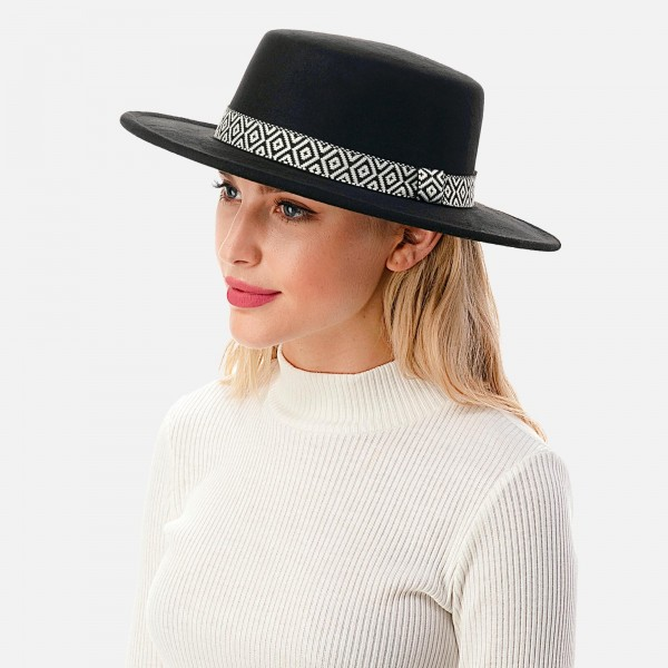 """Wool Felt Wide Brim Hat Featuring Black and White Aztek Embroidered Band  - Adjustable Drawstring - Hat Brim Approximately 2.75"""" W - 10% Wool / 90% Polyester"""