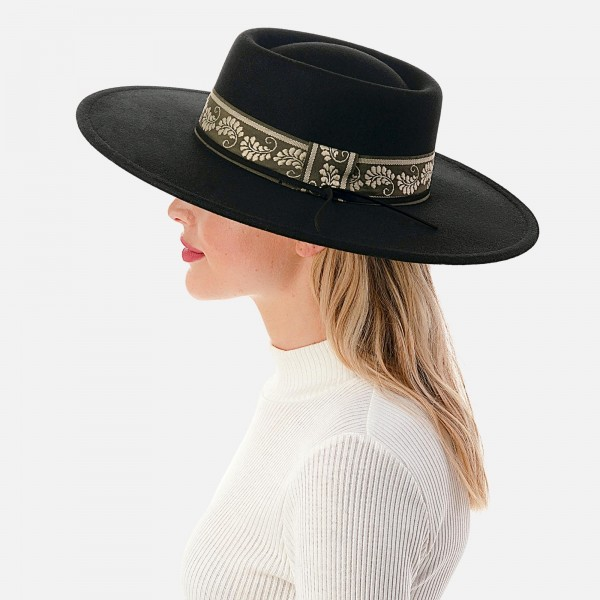 """Wool Felt Wide Brim Hat Featuring Embroidered and Thin Leather Band  - Adjustable Drawstring - Hat Brim Approximately 4"""" W - 10% Wool / 90% Polyester"""