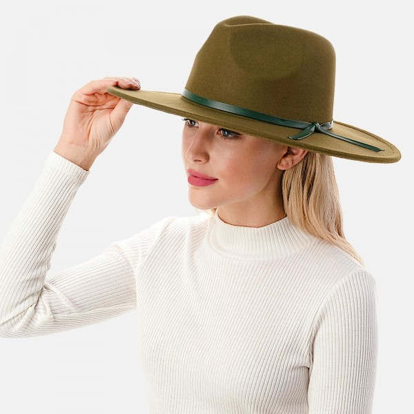 """Wool Felt Wide Brim Hat Featuring Thin Leather Band  - Adjustable Drawstring - Hat Brim Approximately 4"""" W - 10% Wool / 90% Polyester"""