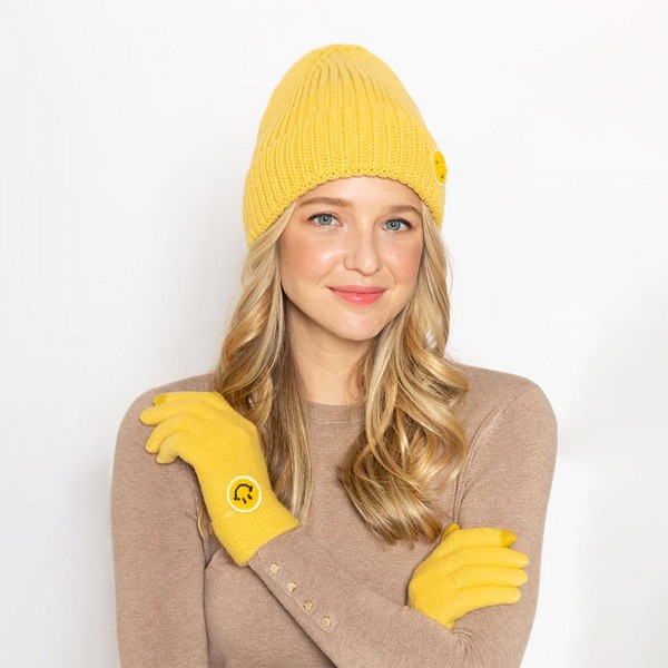 Smiley Face Knit Beanie  - One Size Fits Most - 100% Acrylic