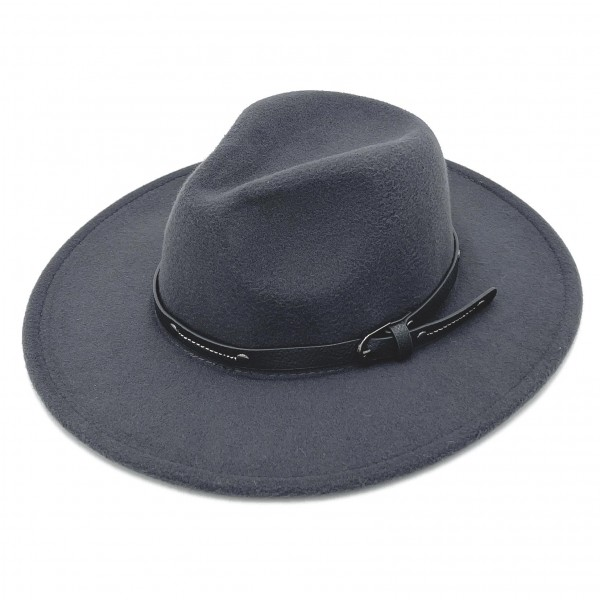 """Do Everything In Love Felt Wide Brim Hat With Studded Leather Buckle Band  - Adjustable Drawstring - Hat Brim Approximately 3"""" W - 100% Polyester"""
