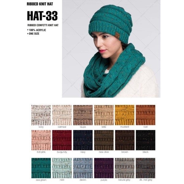C.C HAT-33 Ribbed confetti knit beanie  - 100% Acrylic - One size fits most - Matches: MB-33, G-33, and SF-33