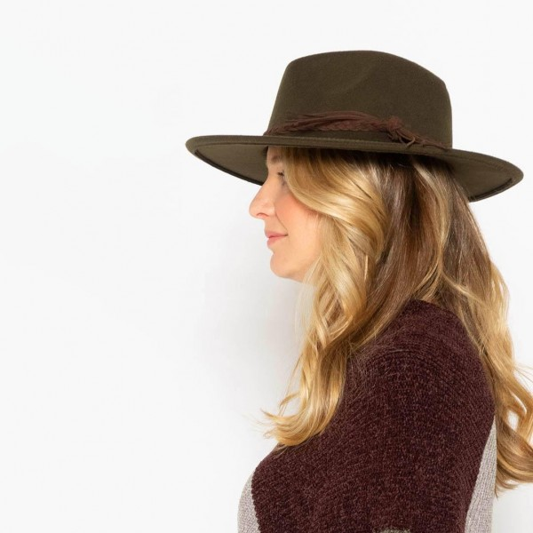 """Do Everything In Love Felt Wide Brim Hat With Braided Leather Band  - Adjustable Drawstring - Hat Brim Approximately 3"""" W - 100% Polyester"""