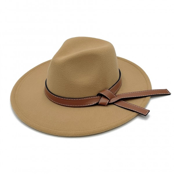 """Do Everything In Love Felt Wide Brim Hat With Leather Featuring Contrast Stitching Band  - Adjustable Drawstring - Hat Brim Approximately 3"""" W - 100% Polyester"""