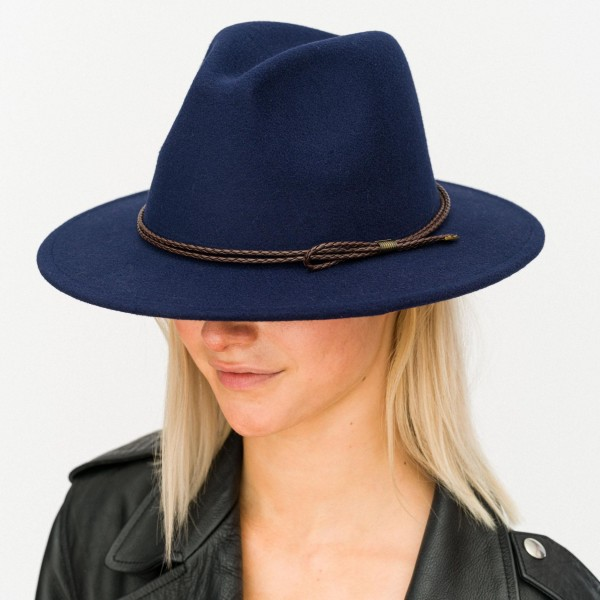 """Felt Wide Brim Hat Featuring Thin Braided Leather Band  - Adjustable Drawstring - Hat Brim Approximately 2.5"""" W - 100% Polyester"""