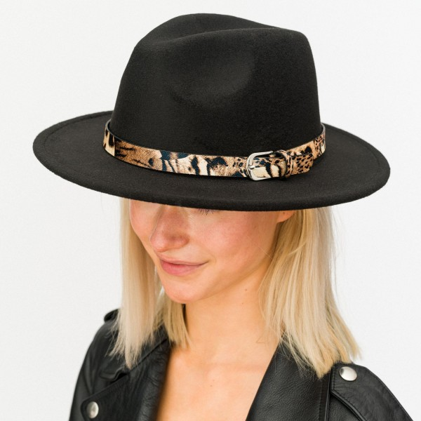 """Felt Wide Brim Hat Featuring Animal Print Buckled Band  - Adjustable Drawstring - Hat Brim Approximately 2.5"""" W - 100% Polyester"""