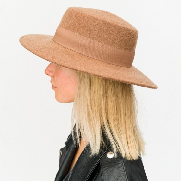 Women's Wool Felt Hat Featuring Ribbon Accent.   - One Size Fits Most - 100% Wool - Adjustable Drawstring Inside Hat for Perfect Fit