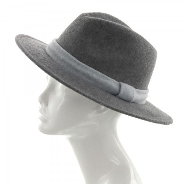 Heather Gray Faux Wool Panama Hat Featuring Ribbon Accent.   - One Size Fits Most - 100% Polyester - Adjustable Drawstring Inside Hat for Perfect Fit