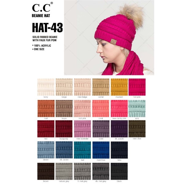 C.C HAT-43  Solid Ribbed Knit Faux Fur Pom Beanie.  - One size fits most - 100% Acrylic