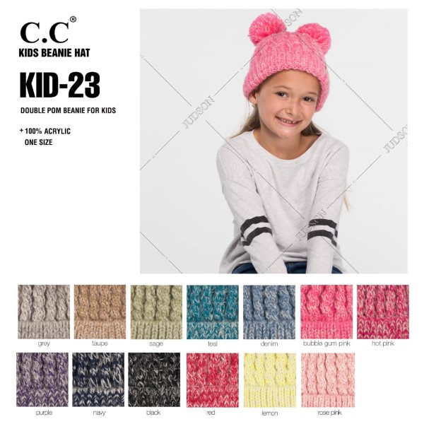 """C.C KID-23 Double pom beanie for kids  - 100% Acrylic - Band circumference is approximately:  11"""" unstretched  16"""" stretched - Approximately 6.5"""" long from crown to band - Fit varies based on child's head height and shape"""