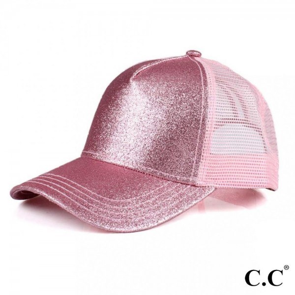 C.C BT-6 Glittery Trucker Cap with Mesh Back  - One size fits most - Adjustable Velcro Closure - 100% Polyester